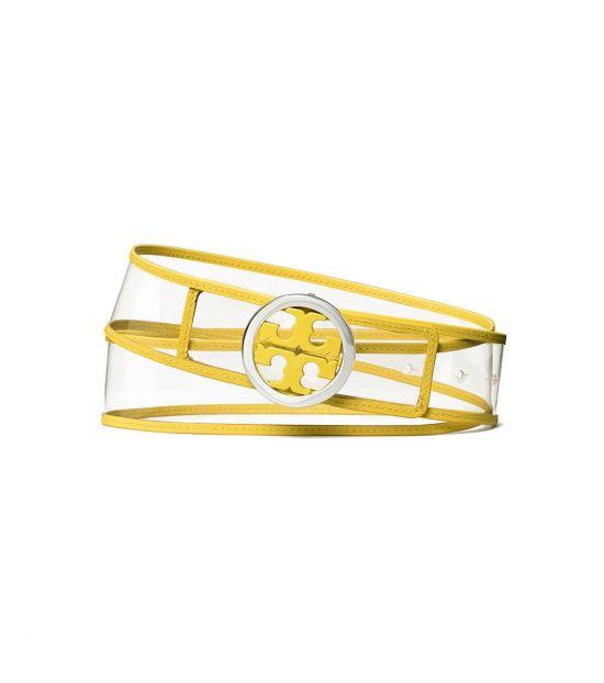 Tory Burch Clear-Electric Yellow Logo Belt