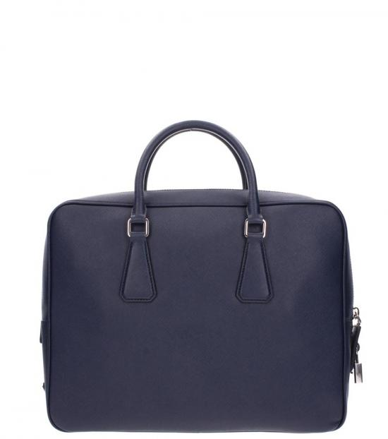 Prada Dark Blue Work Large Briefcase Bag