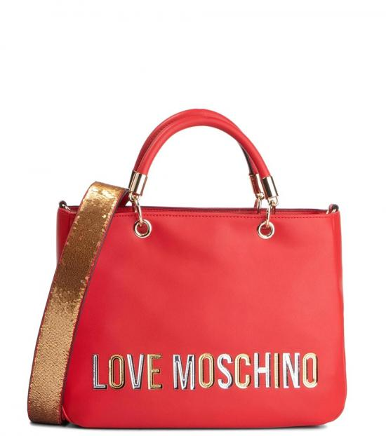 Love Moschino Red Laminated Logo Medium Satchel