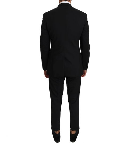 Dolce & Gabbana Black Wool Stretch Gold Suit