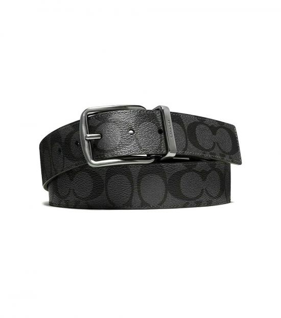 Coach Charcoal-Black Wide Harness Reversible Belt
