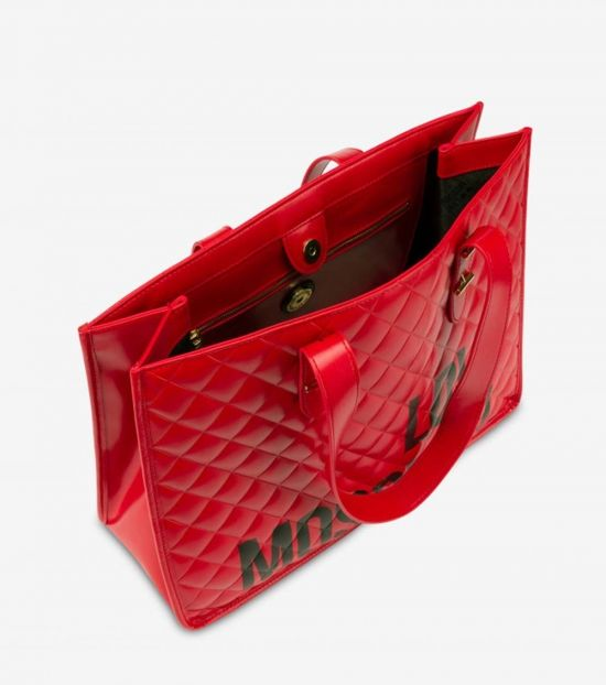 Love Moschino Red Bold Logo Large Tote