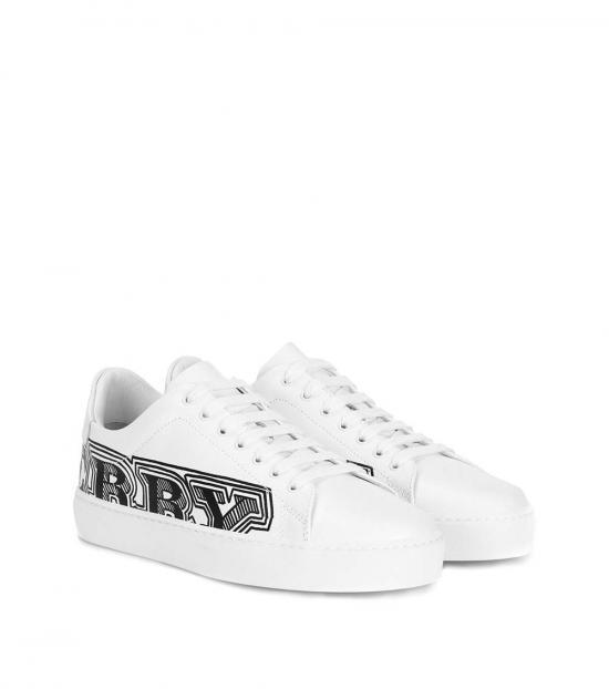 Burberry White Logo Print Low Top Sneakers