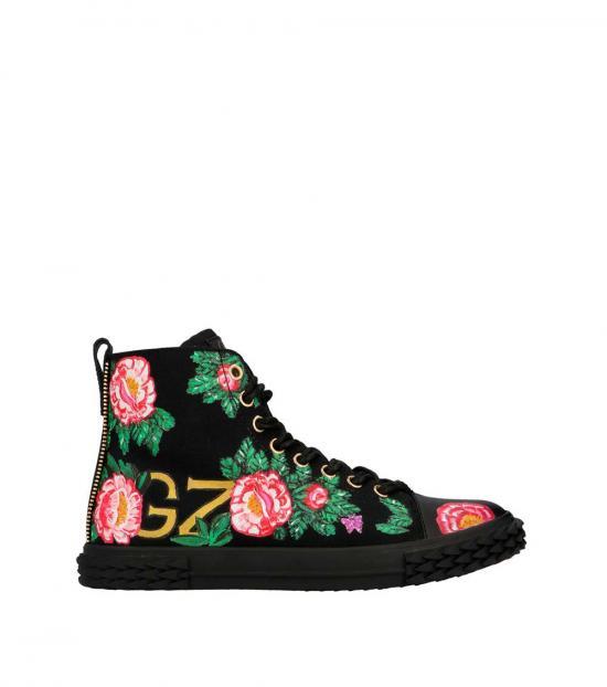 Giuseppe Zanotti Black Blabber Floral Sneakers