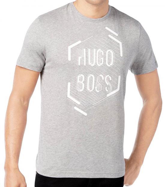 Hugo Boss Grey Graphic Premium Cotton T-Shirt