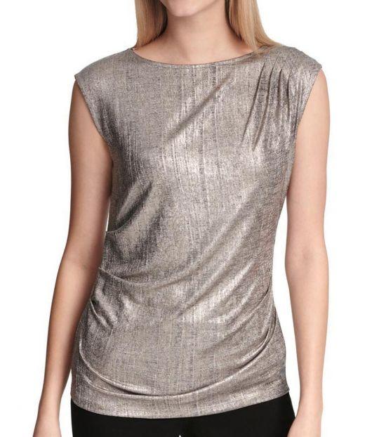Calvin Klein Gold Metallic Ruched Top