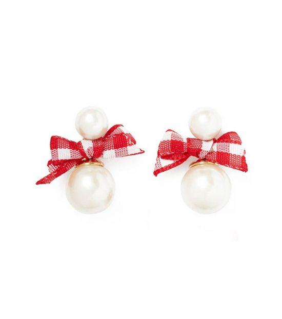 Kate Spade Red Pearl Ribbon Earrings