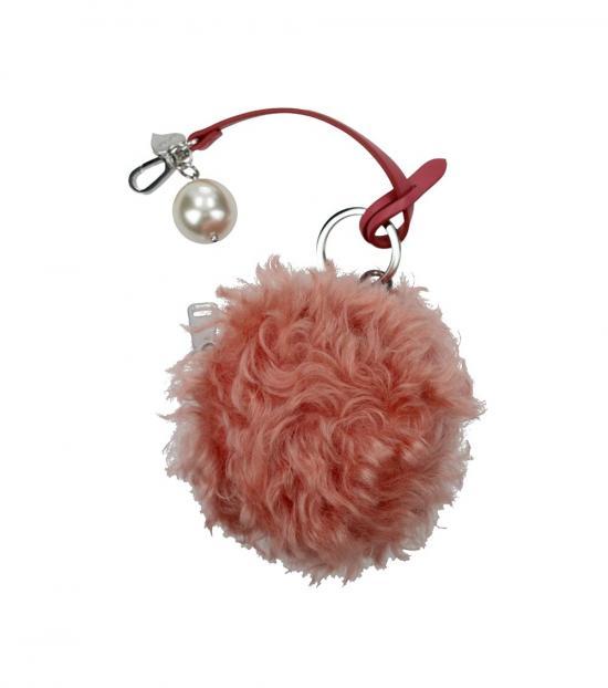Miu Miu Pink Fur Pearl Key Holder