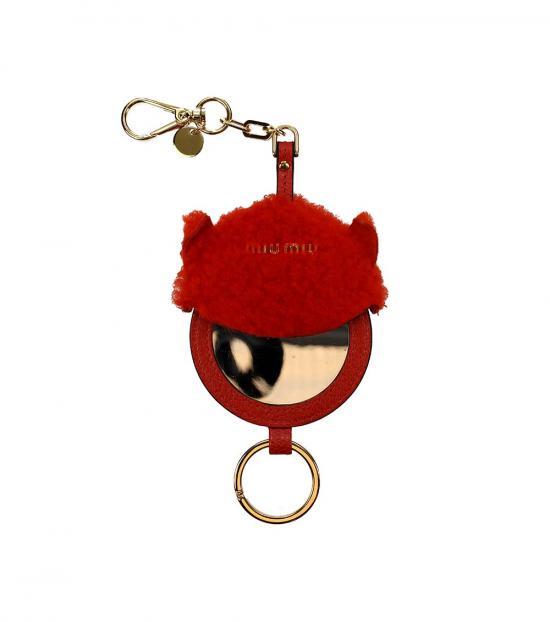 Miu Miu Orange Mirror Detail Key Holder
