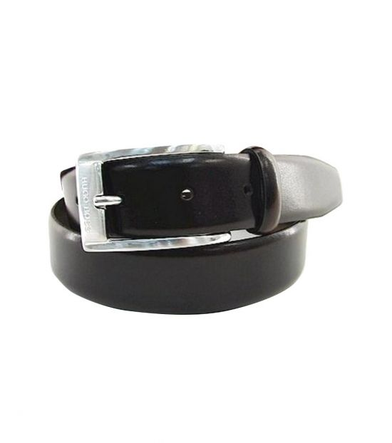 Hugo Boss Ugos Black Silver Leather Belt