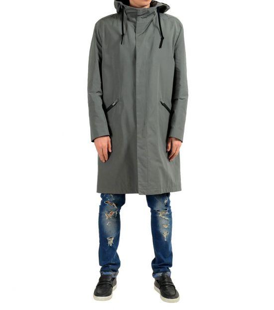 Hugo Boss Grey Hooded Windbreaker Coat