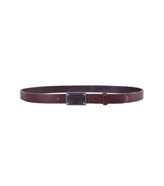 Dolce & Gabbana Brown Leather Plaque Buckle Belt