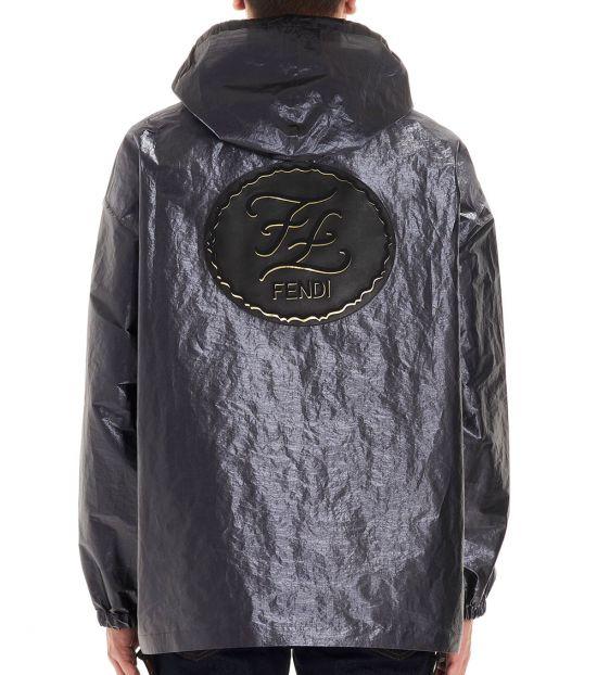 Fendi Gray Metallic K-Way Anorak Jacket