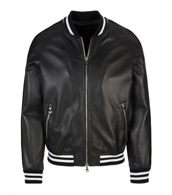 Balmain Black Striped Logo Bomber Jacket
