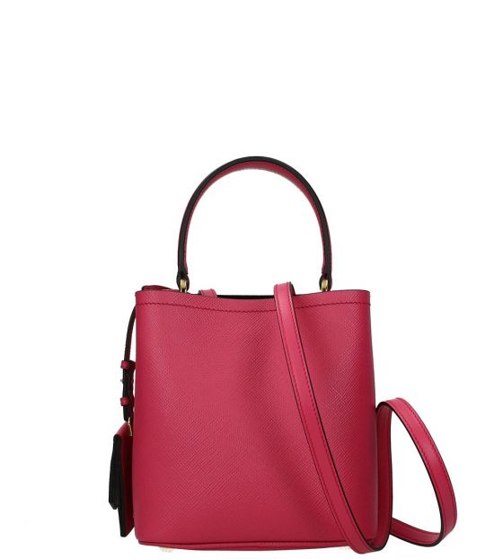 Prada Fuchsia Logo Mini Bucket Bag