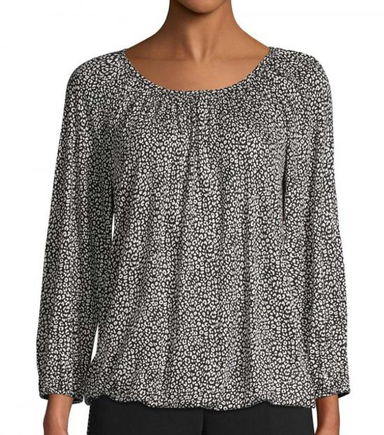 Michael Kors Black Printed Roundneck Top