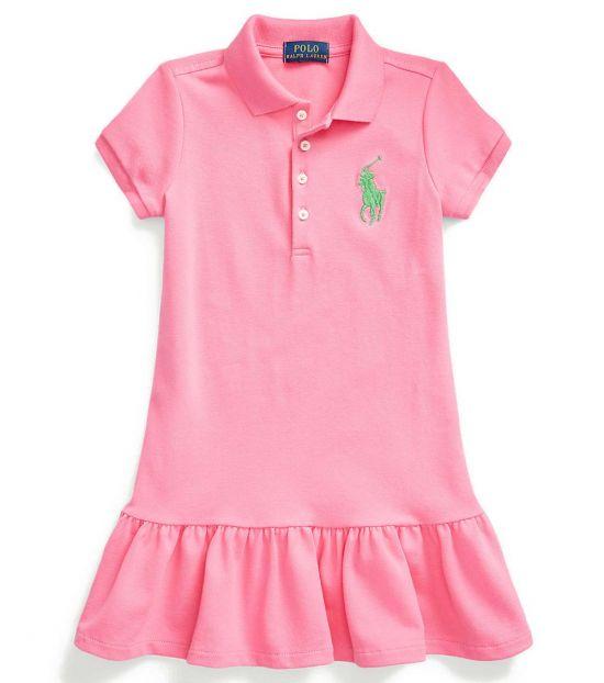 Ralph Lauren Little Girls Baja Pink Mesh Polo Dress