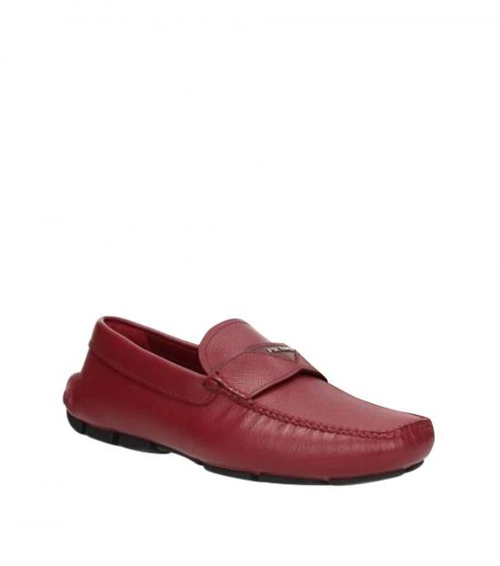 Prada Red Front Logo Loafers