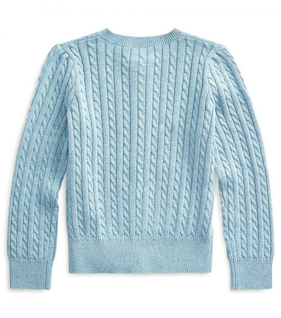 Ralph Lauren Little Girls Modern Blue Cable-Knit Cardigan