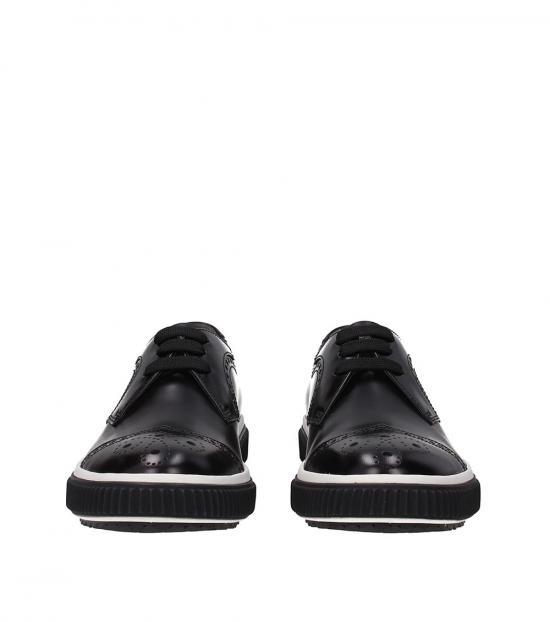 Prada Black Front Logo Lace Ups