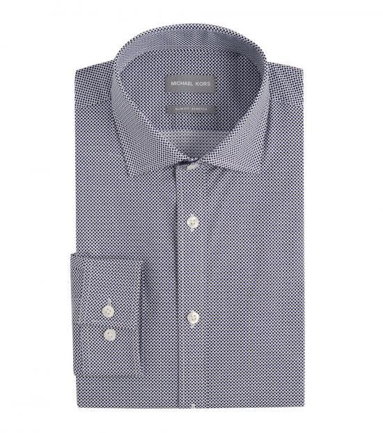 Michael Kors Blue Multi Slim Fit Print Dress Shirt