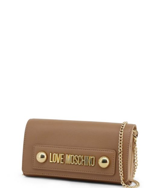 Love Moschino Brown Logo Plate Clutch