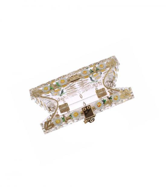 Dolce & Gabbana Gold Plexi Flower Clutch
