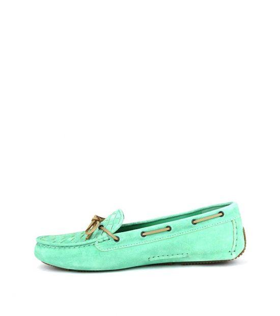 Bottega Veneta Lime Woven Vamp Bow Tie Loafers
