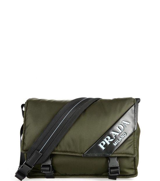 Prada Olive Logo Medium Messenger Bag