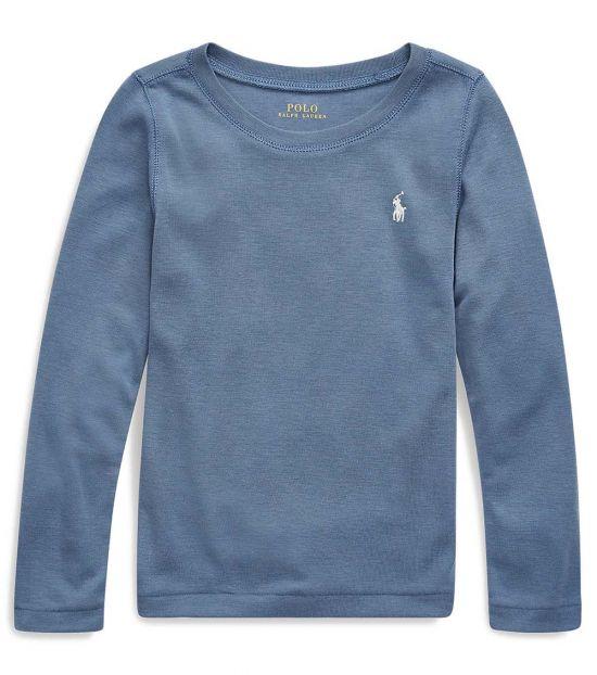Ralph Lauren Little Girls Capri Blue Long-Sleeve T-Shirt