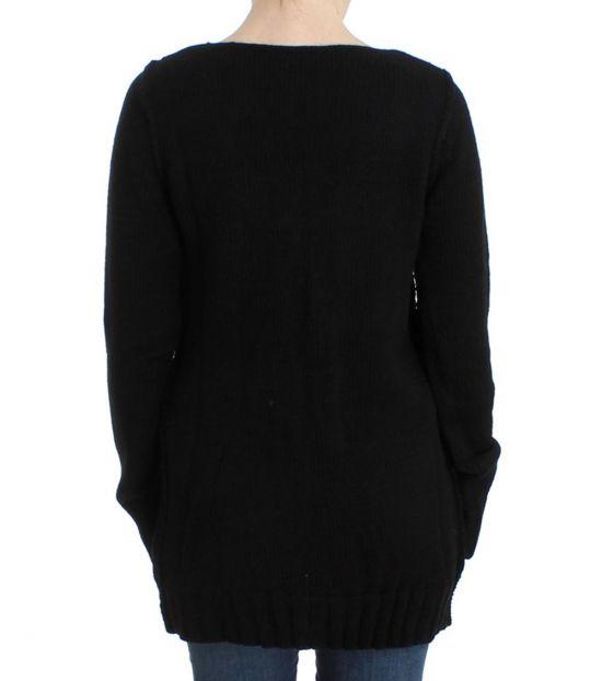 Cavalli Class Black Knitted Wool Sweater