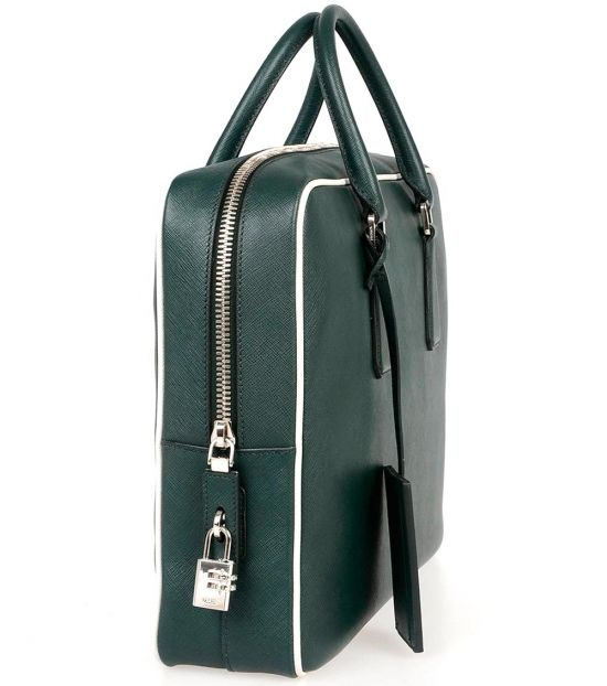 Prada Green Solid Large Briefcase Bag
