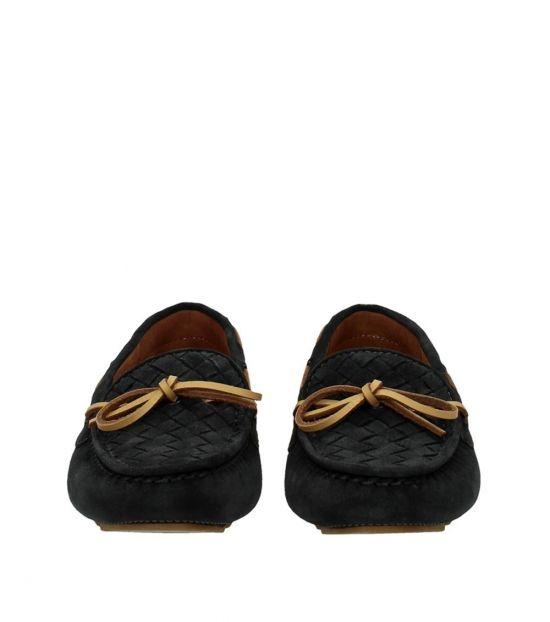 Bottega Veneta Dark Grey Woven Vamp Bow Tie Loafers