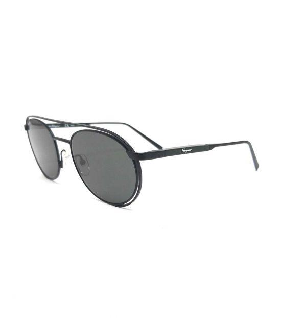 Salvatore Ferragamo Matte Black Oval Sunglasses