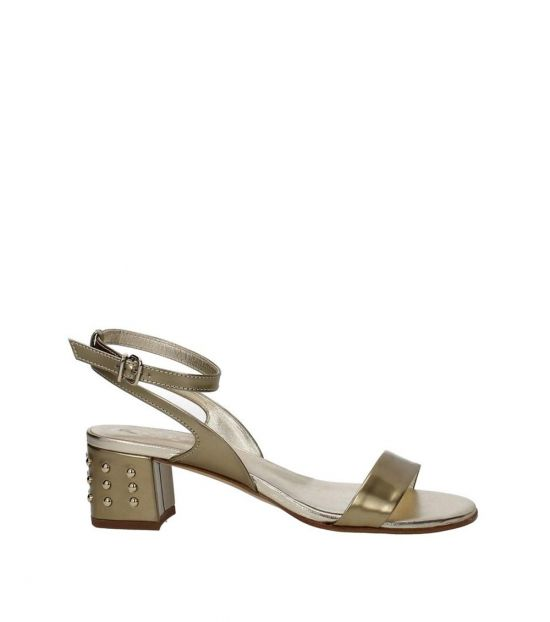 Tod's Gold Open Toe Mid Heels