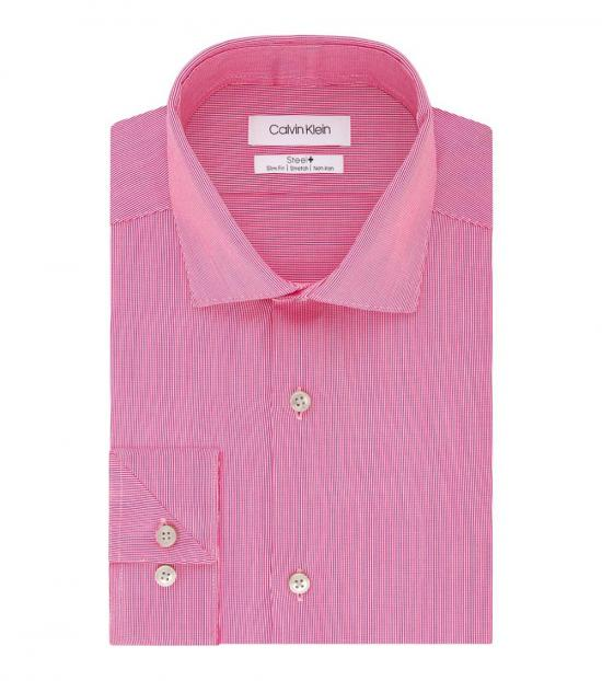 Calvin Klein Pink Sorbet Slim-Fit Stretch Dress Shirt