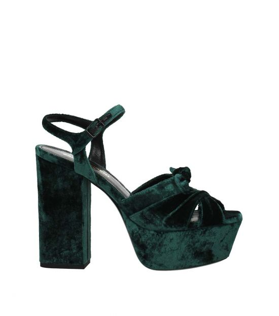 Saint Laurent Green Open Toe Pumps