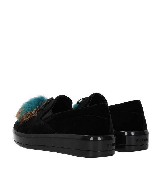 Prada Black Velvet Loafers
