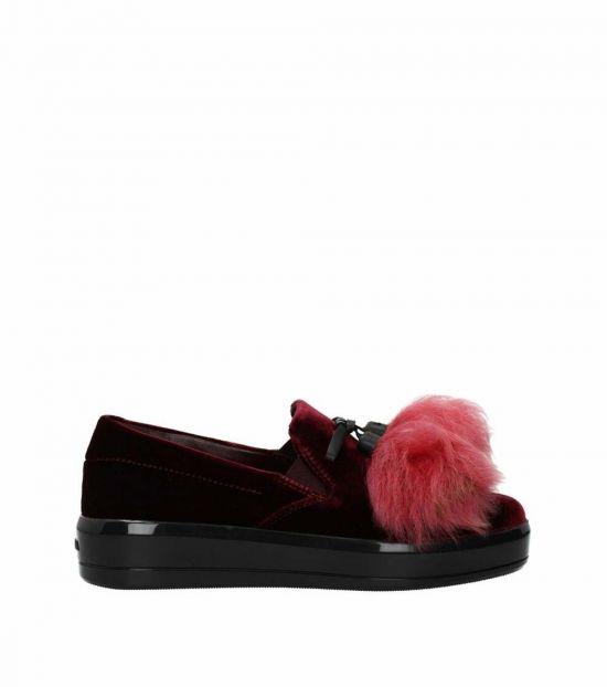 Prada Red Velvet Loafers