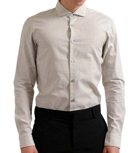 Hugo Boss Off White Slim Fit Long Sleeve Shirt