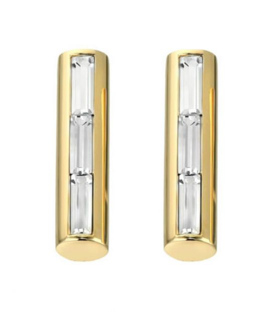 Michael Kors Gold Baquette Crystals Bar Earrings