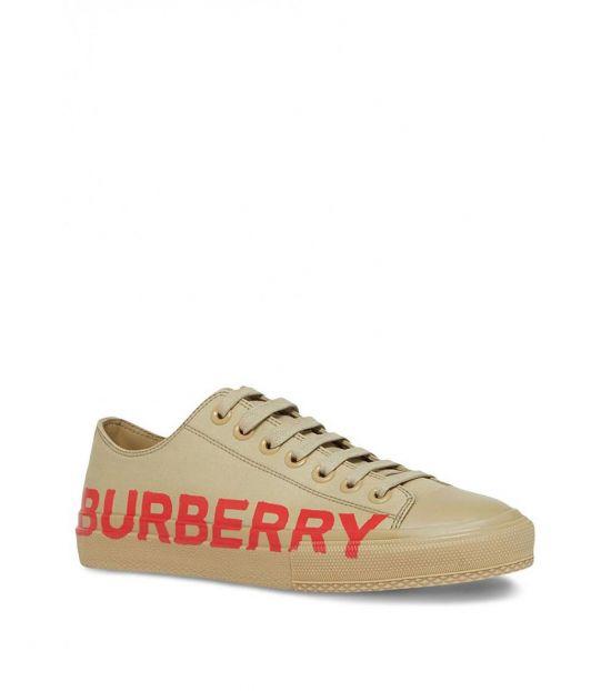 Burberry Dark Honey Beige Cotton Sneakers