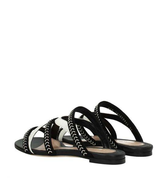 Alexander McQueen Black White Leather Flats
