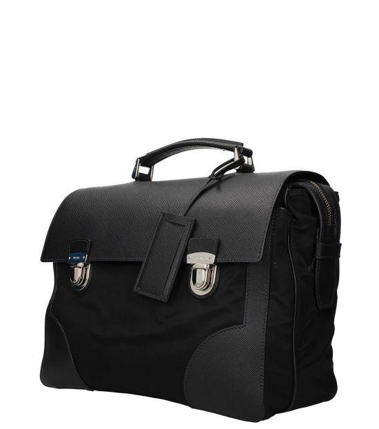 Prada Black Solid Large Briefcase Bag