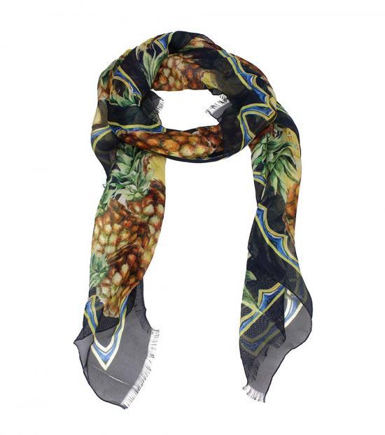 Dolce & Gabbana Multi Color Pineapple Print Scarf