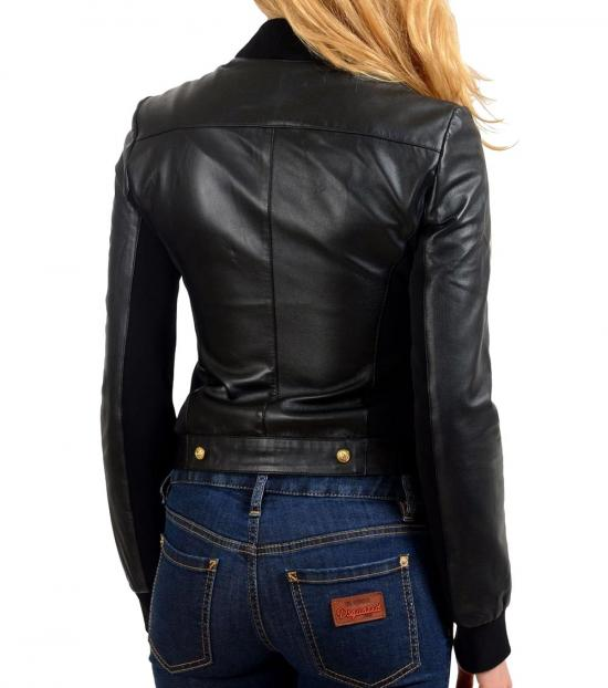 Versus Versace Black Leather Basic Jacket