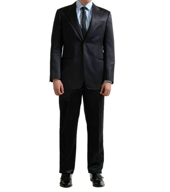 Armani Collezioni Black Striped Silk Wool Suit