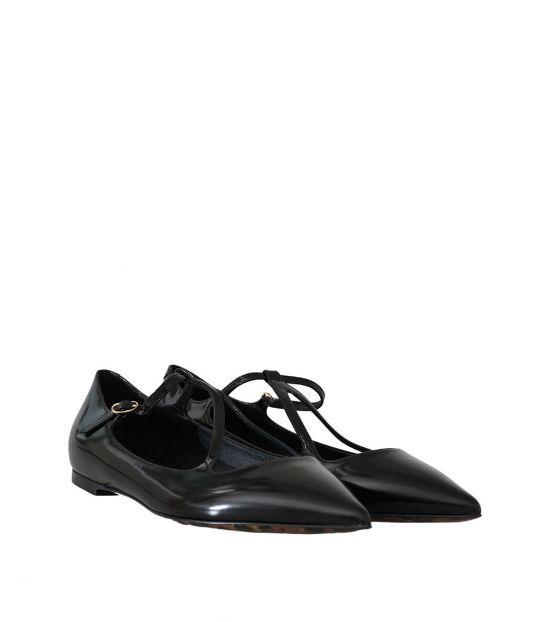 Dolce & Gabbana Black Leather Ballet Flats