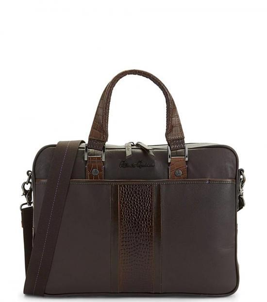 Robert Graham Brown Keaton Embossed Large Briefcase Bag