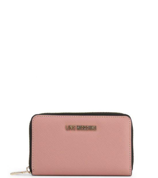Love Moschino Pink Solid Zip Wallet